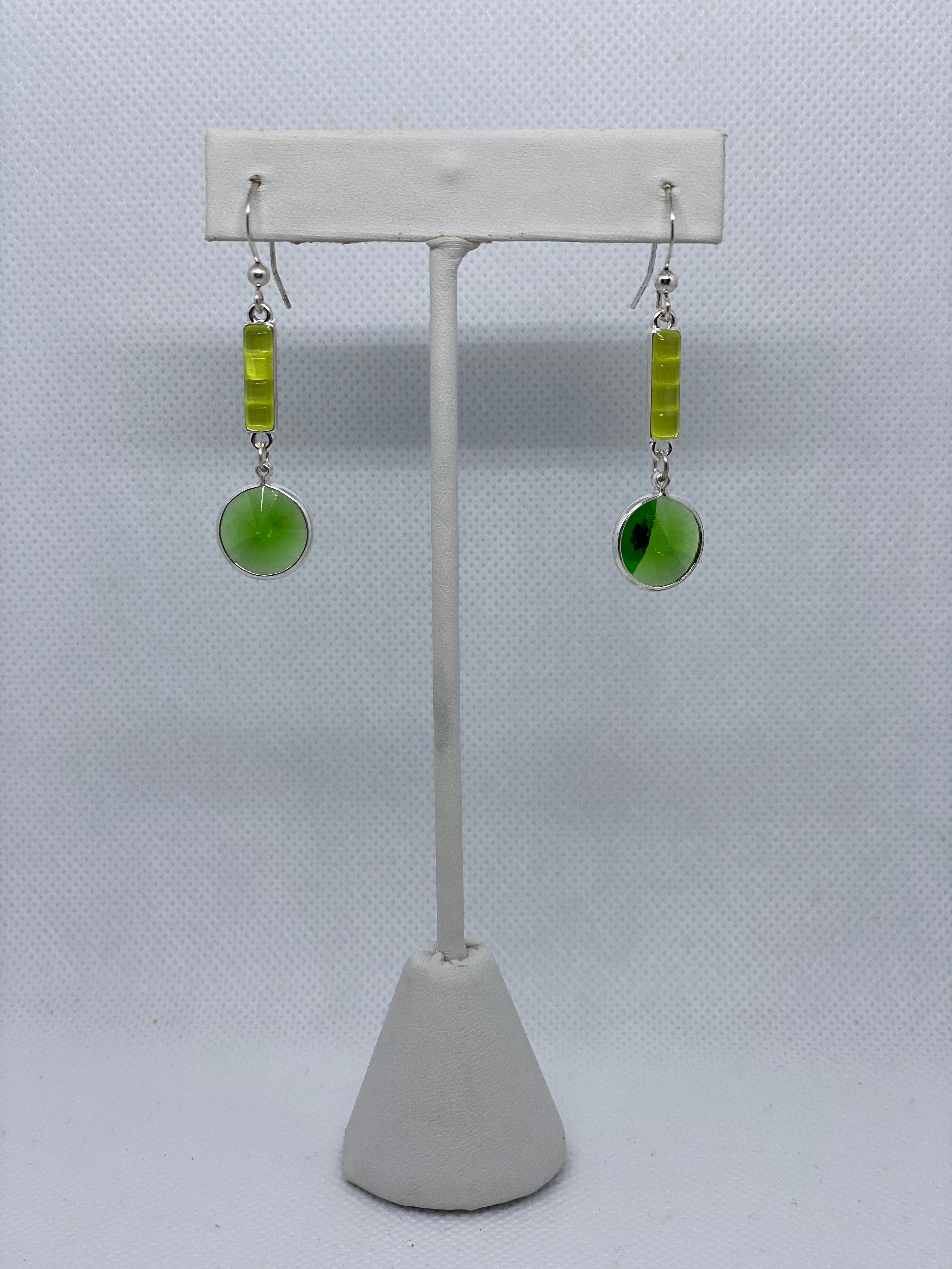 Green Gem Drop Earrings
