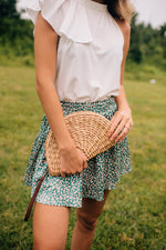 Straw Semi Circle Clutch