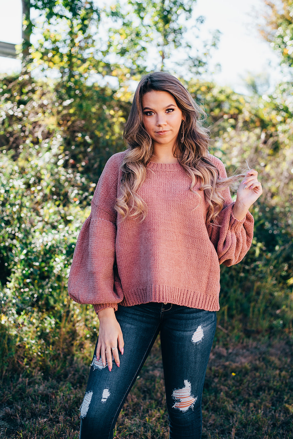 Gingersnap Puff Sleeve Sweater