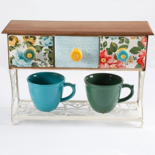 The Pioneer Woman Flea Market Mug Rack with 2 Mugs