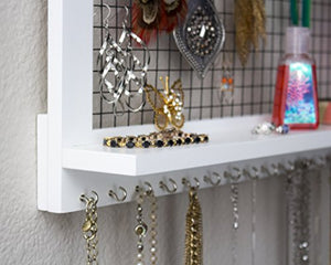 SoCal Buttercup White Jewelry Organizer with Removable Bracelet Rod