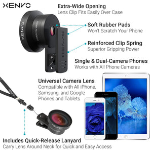 Xenvo Pro Wide Angle Lens Kit with LED Light and Travel Case