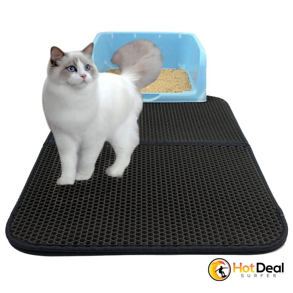 Waterproof Pet Cat Litter Mat Double-Layer Trapping Mat Pad Bottom