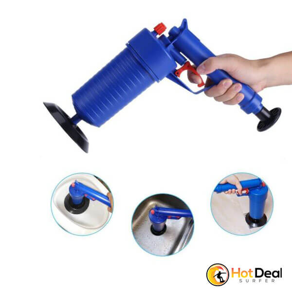 Air Power Drain Blaster Gun High Pressure Powerful Manual Sink Plunger Opener Cleaner Pump for Bath Toilets Clogged Pipe Bathtub