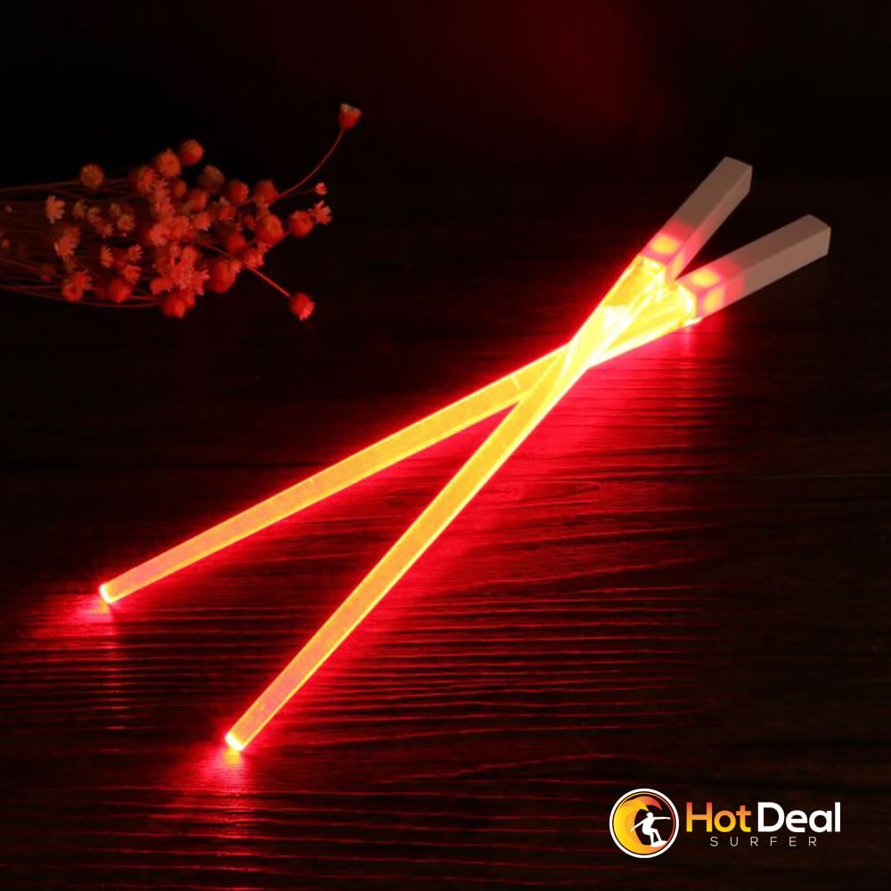 LED Lightsaber Ultrasaber Chopsticks Light Up Durable Lightweight Portable BPA Free and Food Safe Tableware Creative Dining Kitchen