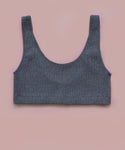 Ribbed Scoop Back Crop Top (Anthracite)