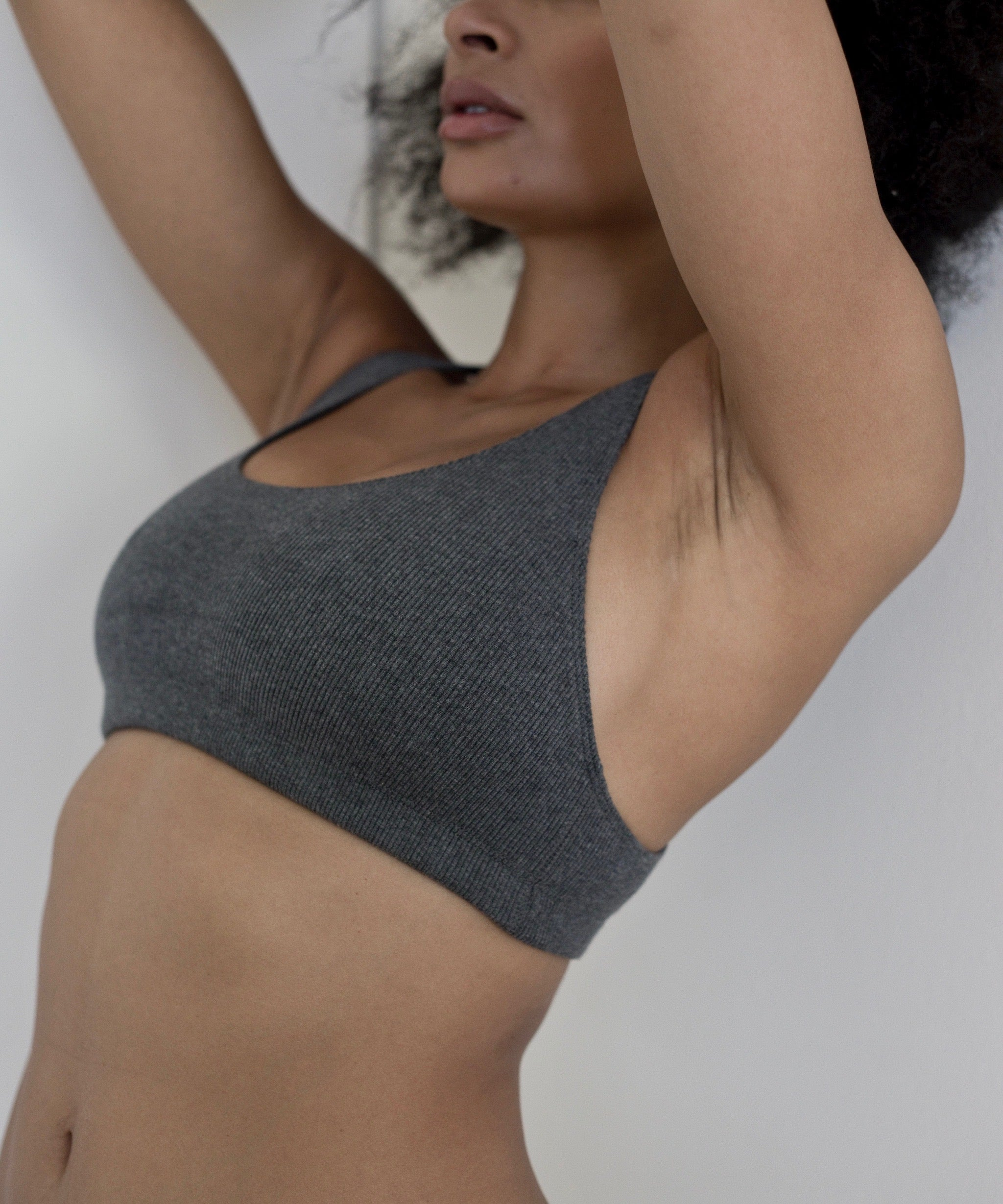 Ribbed Racerback Crop Top (Anthracite)