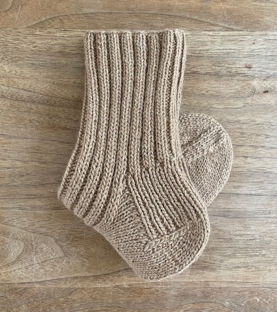 Hand-knitted Camel Socks