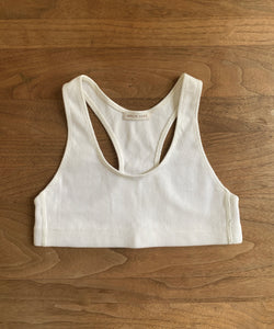 Natural White Ribbed Racerback