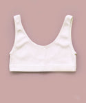 Ribbed Scoop Back Crop Top (White)