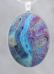 River Running  - Glow-in-the-dark pendant with a beautiful abstract soap film pattern