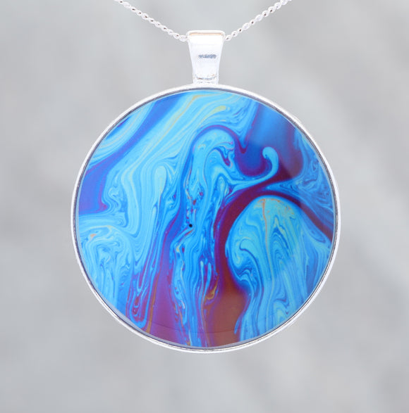 Blue Rage  - Glow-in-the-dark pendant with a beautiful abstract soap film pattern