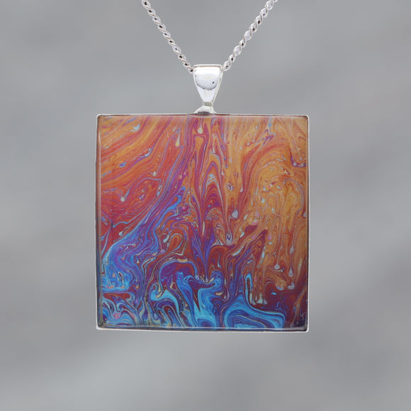 Crimson Rain - Glow-in-the-dark pendant with a beautiful abstract soap film pattern