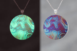 Red Wings - Glow-in-the-dark pendant with a beautiful abstract soap film pattern