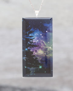Green and Purple Monkey's Head Nebula, With Tree - Beautiful glow-in-the-dark Astronomy Pendant from the Centre of our Galaxy