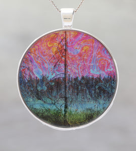 Spirited Pond  - Glow-in-the-dark pendant with a beautiful image of trees