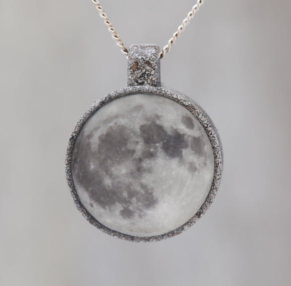 Supermoon!  Glow-in-the-dark astronomy pendant with a beautiful photograph of the full moon in a stone-like bezel - Space / Science Necklace
