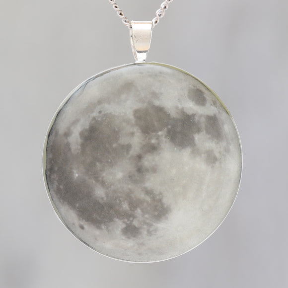 Supermoon!  Glow-in-the-dark astronomy pendant with a beautiful photograph of the full moon - Space / Science Necklace
