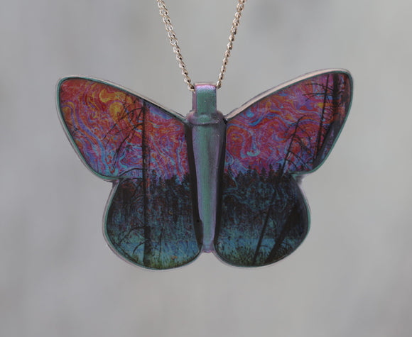 Spirited Pond - Abstract Butterfly Pendant made with a photo of a pond and of Soap Film!