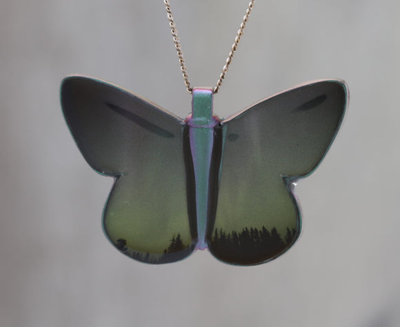 Northern Lights - Astronomy Butterfly Pendant made with a photo of the Aurora