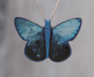 Blue Morpho with Stars - Pendant made with photo of a Butterfly's wing, a Tree and a Galaxy