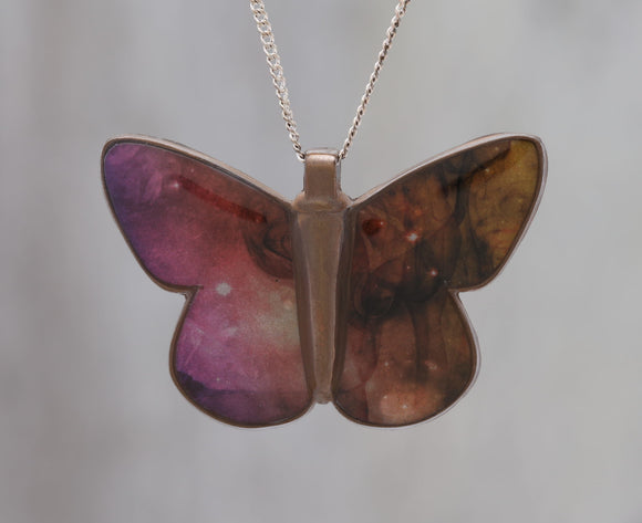 Dancing with Smoke - Galaxy Butterfly Pendant made with a photo of Smoke and the Carina Nebula!