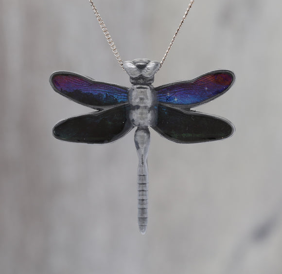 Galaxy Dragonfly Pendant made with a photo of Soap film and the Carina Nebula!