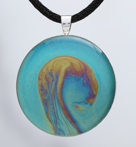 Dancing in Circles  - Glow-in-the-dark pendant with a beautiful abstract soap film pattern
