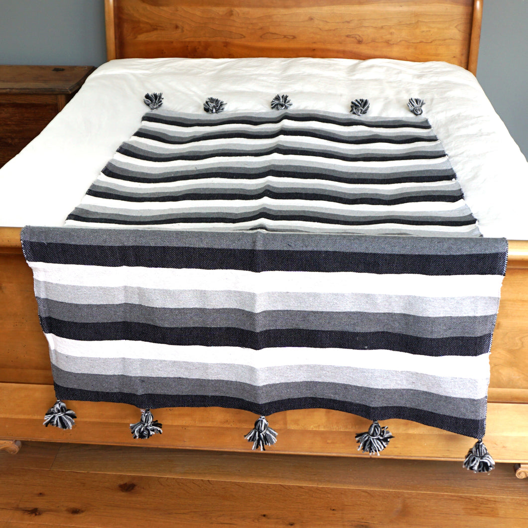 Pompom Blanket - Black & White