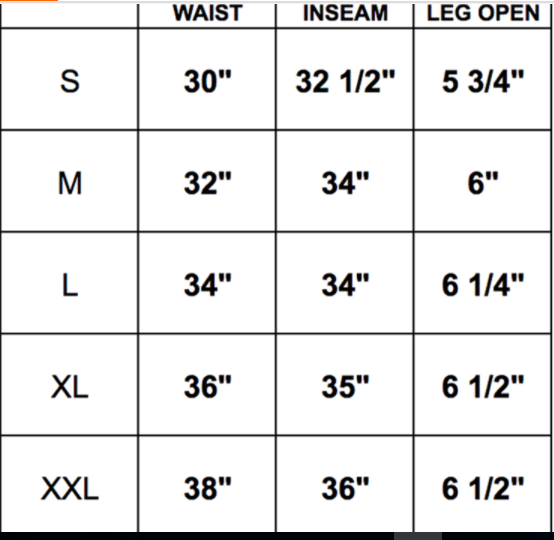 fxn track pants size chart