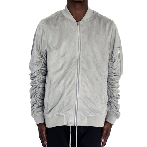 RUCHED SLEEVE SUEDED BOMBER JACKET - STEEL - FXN menswear