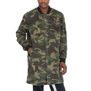 DISTRESSED TRENCH BOMBER COAT - CAMO - FXN menswear
