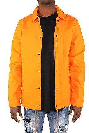 HEAVY TWILL COACH'S JACKET - ORANGE - FXN menswear