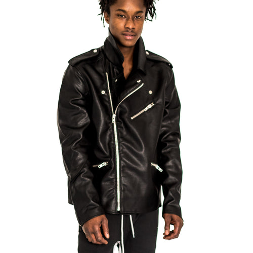 VEGAN LEATHER BIKER JACKET - FXN menswear
