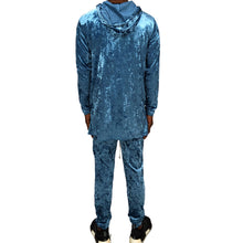 Load image into Gallery viewer, CRUSHED VELOUR SLIM JOGGER SET - BLUE - FXN menswear
