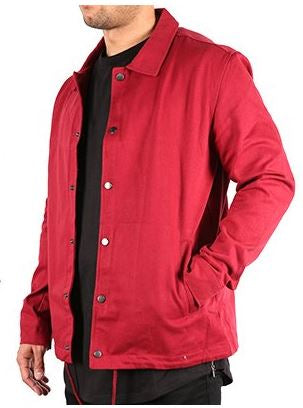 HEAVY TWILL COACH'S JACKET - BURGUNDY - FXN menswear