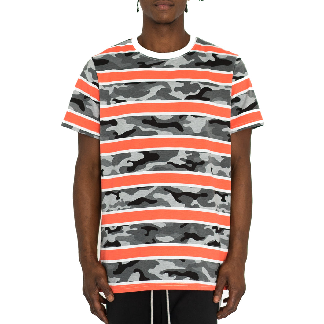 CAMO STACK RUGBY TEE - ORANGE/GREY/WHITE - FXN menswear