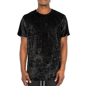 CRUSHED VELOUR TEE BLACK - UNISEX - FXN menswear