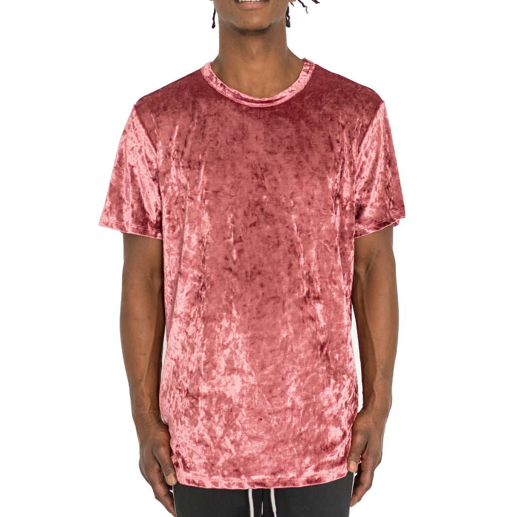 CRUSHED VELOUR TEE DUSTY ROSE - UNISEX - FXN menswear