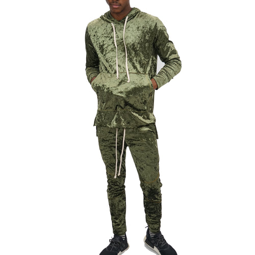 CRUSHED VELOUR SLIM JOGGER SET - GREEN - FXN menswear
