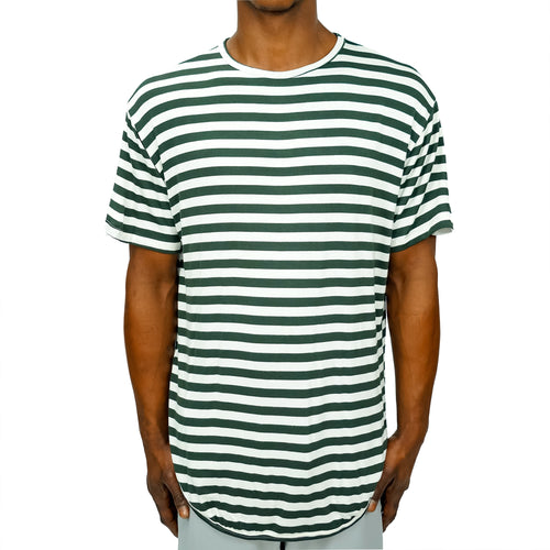 FINE KNIT STRIPED TEE - GREEN - FXN menswear