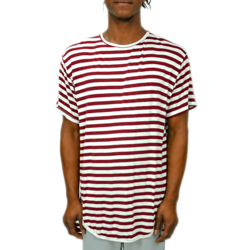 FINE KNIT STRIPED TEE - MAROON - FXN menswear