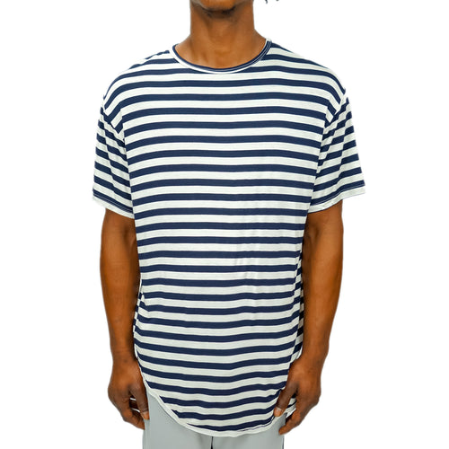 FINE KNIT STRIPED TEE - NAVY - FXN menswear