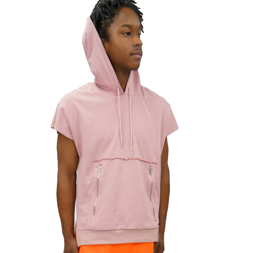 DOLMAN SLEEVELESS HOODIE - DUSTY ROSE - FXN menswear