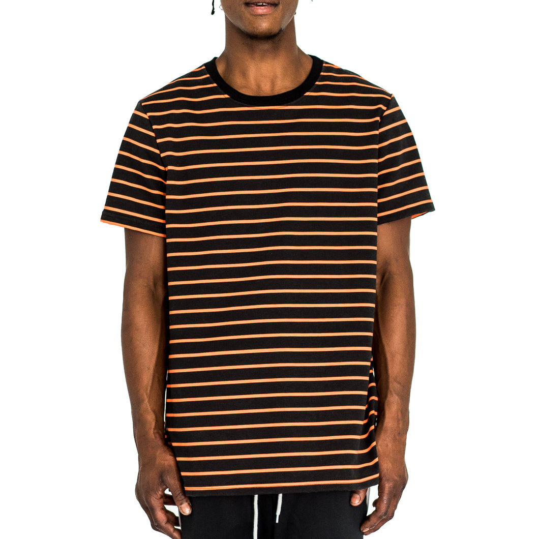 NARROW STRIPE BOX T - BLACK/ORANGE - FXN menswear