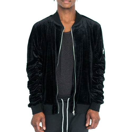 RUCHED SLEEVE VELOUR BOMBER JACKET - BLACK - FXN menswear