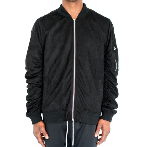 RUCHED SLEEVE SUEDED BOMBER JACKET - BLACK - FXN menswear
