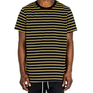 NARROW STRIPE BOX T - BLACK/YELLOW - FXN menswear