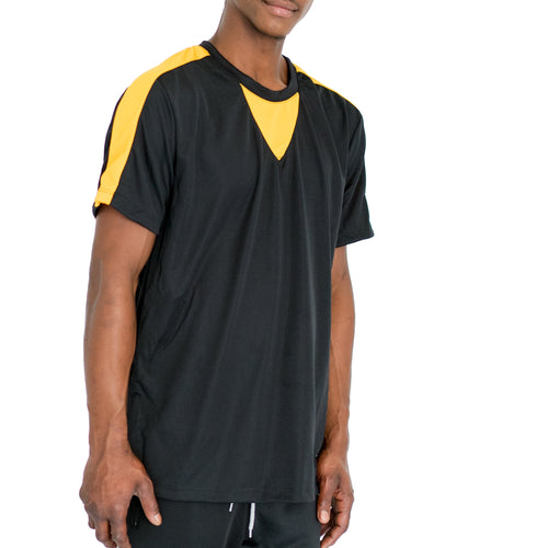 QUICK-DRY ATHLETIC TEE - BLACK/YELLOW - FXN menswear