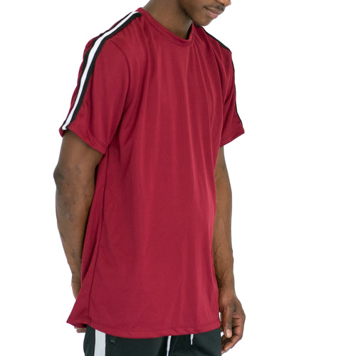SHOULDER TAPE QUICK-DRY TEE - BURGUNDY - FXN menswear